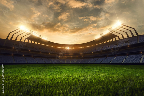 Fotomural 3d render emptry stadium evening