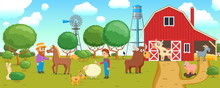 Cartoon Banner On A Agricultural Theme. Rural Scene With People And Farm Animals. Vector Illustration