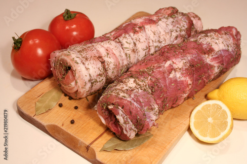 Fotografie, Obraz  Roulade with bacon before baking