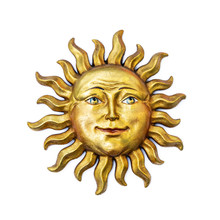 Golden Sun Face Symbol With Su...