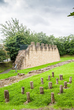 Section Of Hadrian's Wall At Segedunum In Wallsend, The North Of England