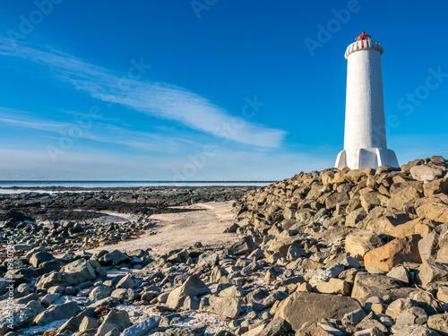 Foto op Aluminium Vuurtoren New active Akranes lighthouse, Iceland