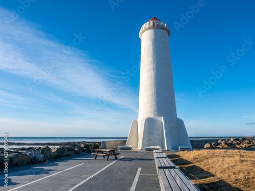 Spoed Foto op Canvas Vuurtoren New active Akranes lighthouse, Iceland