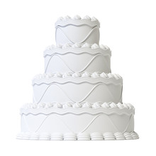 Wedding White Cake Isolated On White Background 3d Rendering