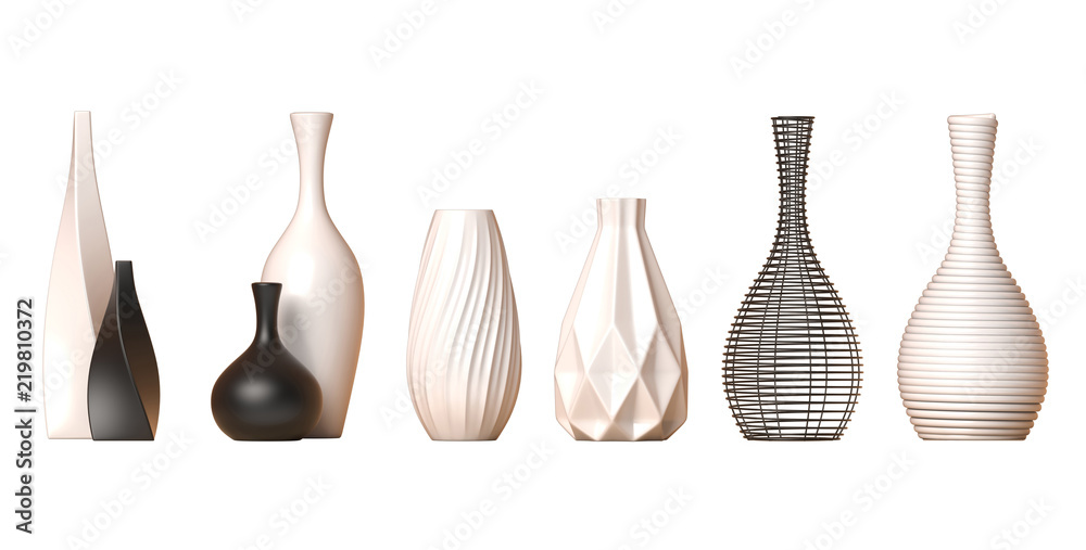 Fototapety, obrazy: Ceramic vase collection Vol. 1 isolated on white background, 3d rendering