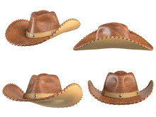 Cowboy Hat Isolated On White Background, Various Views, 3d Rendering