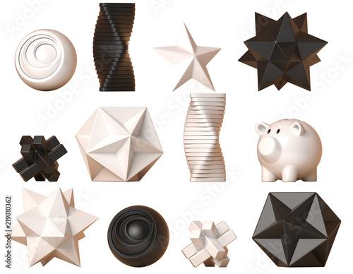 Fotografia  Decor figures, geometric and abstract shape decoration set, minimalistic sculptu