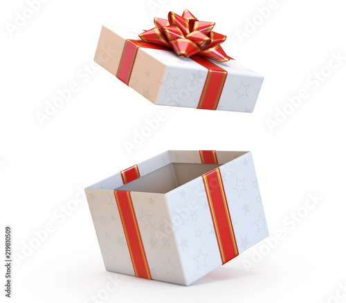 Open gift box with red bow and ribbon present exploding 3d rendering  sc 1 st  Adobe Stock & Open gift box with red bow and ribbon present exploding 3d ...