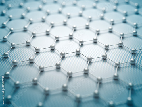 obraz dibond Graphene molecular grid, graphene atomic structure concept, hexagonal geometric form, nanotechnology background 3d rendering