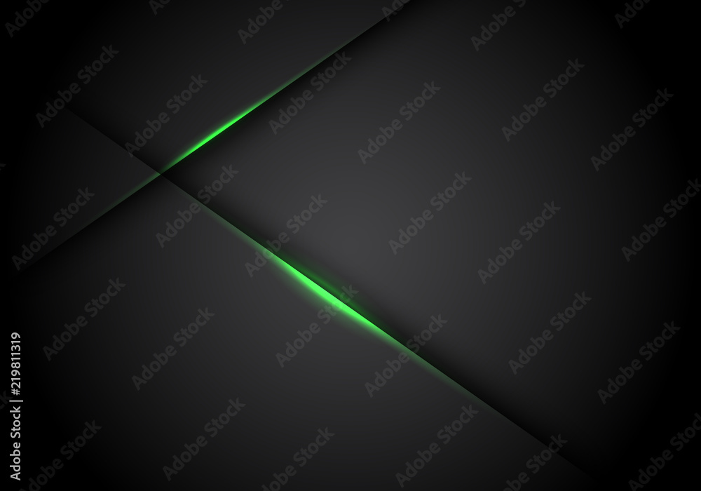 Fototapeta Abstract green light line cross shadow on black blank space design modern futuristic technology background vector illustration.