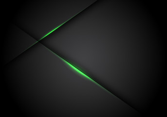 Abstract green light line cross shadow on black blank space design modern futuristic technology background vector illustration.