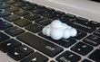 Cloud computing 3d concept - cloud on the laptop keyboard, 3d rendering