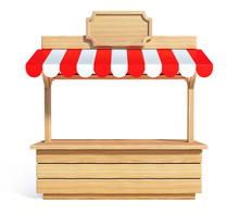 Market Stall With Striped Red ...