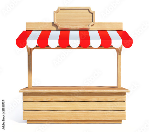 Carta da parati Market stall with striped red and white awning, wooden counter, kiosk, stand, 3d