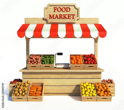 Obraz na plátně Food market kiosk, farmers shop, farm food stall, fruits and vegetables stand 3d
