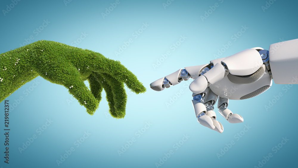 Fototapety, obrazy: Nature and technology abstract concept, robot hand and natural hand covered with grass reaching to each other, tech and nature union, cooperation, 3d rendering