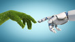 Leinwandbild Motiv Nature and technology abstract concept, robot hand and natural hand covered with grass reaching to each other, tech and nature union, cooperation, 3d rendering