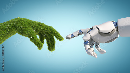 fototapeta na szkło Nature and technology abstract concept, robot hand and natural hand covered with grass reaching to each other, tech and nature union, cooperation, 3d rendering