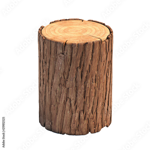 Stampa su Tela  Stump isolated on white background, cross section of tree trunk, 3d rendering
