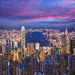 Hong Kong Skyline Twilight Square