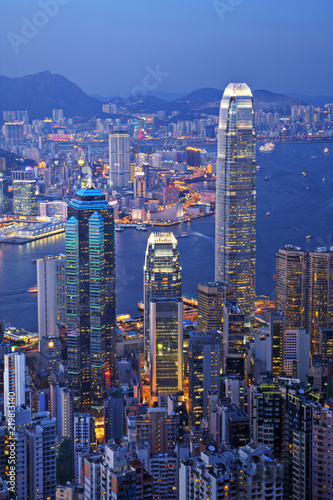 Hong Kong at Twilight Vertical Wallpaper Mural