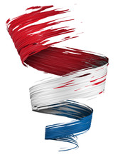 3D Brush Paint Stroke Swirl In Netherlands Flag Colors