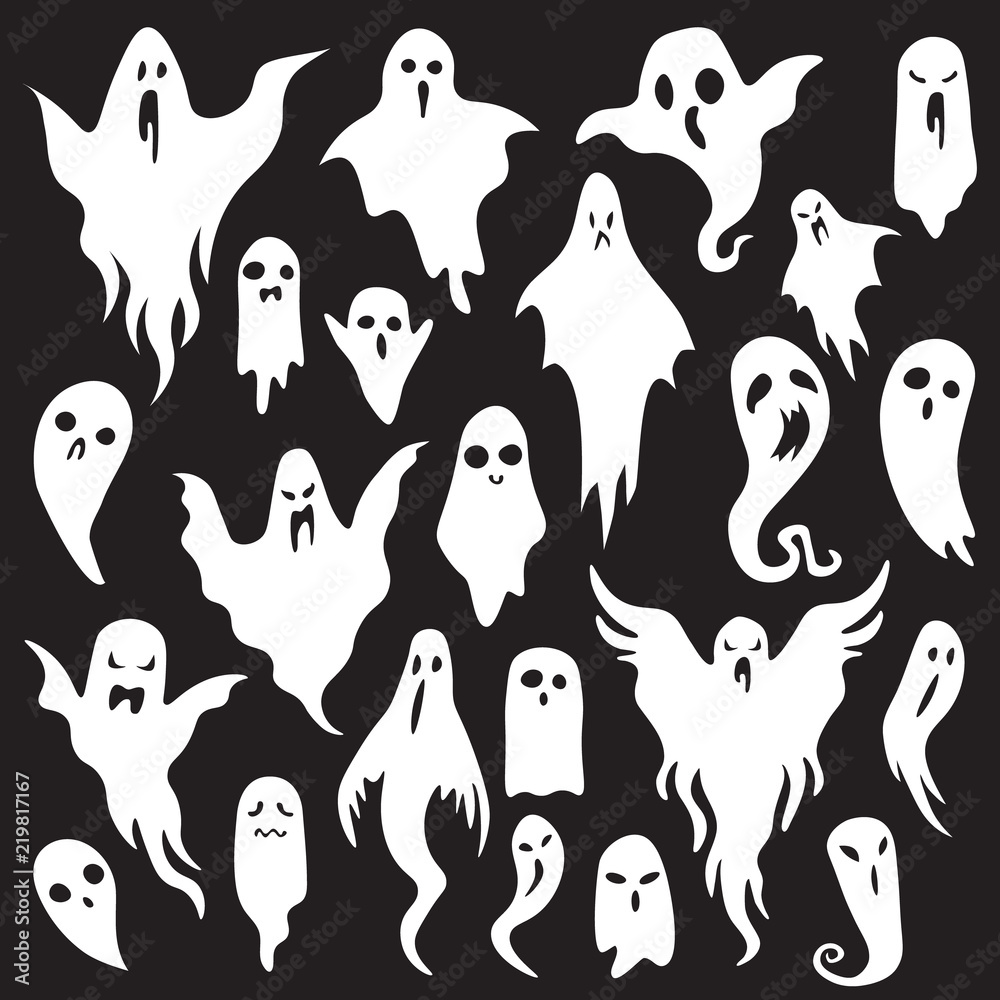 Fototapeta Halloween ghosts. Ghostly monster with Boo scary face. Spooky ghost flat vector icon set