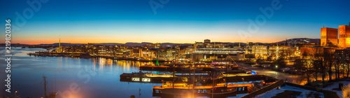 Oslo city skyline panorama during twilight Norway Wallpaper Mural