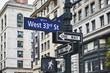 Traffic light on signpost