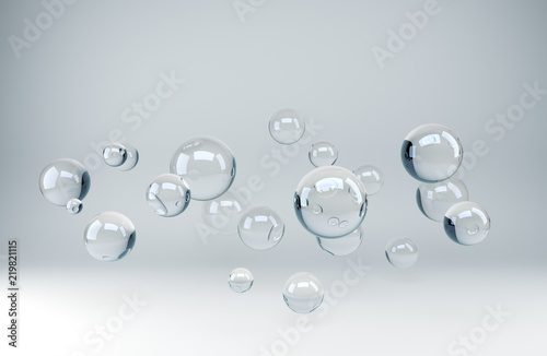 3D glass spheres abstract background
