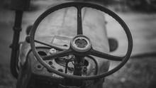 Old Rusty Car Steering Wheel