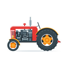 Red Cartoon Tractor