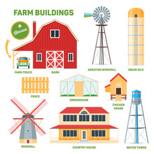 Farm Buildings Set. Cartoon Images Of Barn, Windmill, Grain Silo, Greenhouse And Water Tower. Vector Illustration