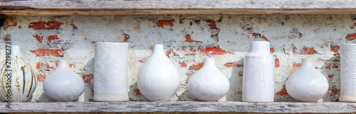 Photo clean white ceramic porcelain pottery in different shape and form