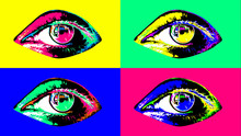 Arty Four Multicolored Female Human Eyes