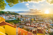 Leinwandbild Motiv Panoramic view of Lisbon at sunset,  Portugal