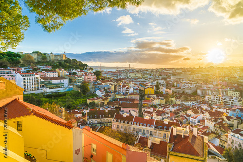 Panoramic view of Lisbon at sunset,  Portugal Canvas Print