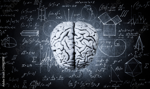 Fototapeta The human brain on the background of physical and mathematical formulas. Education, science and medical abstract background. obraz na płótnie