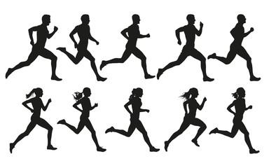 Trčanje. Trčeći muškarci i žene, vektorski skup izoliranih silueta