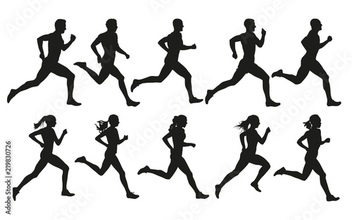 Leinwand Poster Run. Running men and women, vector set of isolated silhouettes