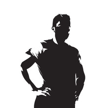Athletic Man Standing With Hands On Hips, Isolated Vector Monochromatic Illustration. Active People
