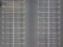 Asphalt Floor With Parking Lot At City Center, Vacant Parking Lot. Parking Lane Painting On Floor With Numbered Places.