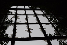 Old Broken Window In Abandoned Hospital