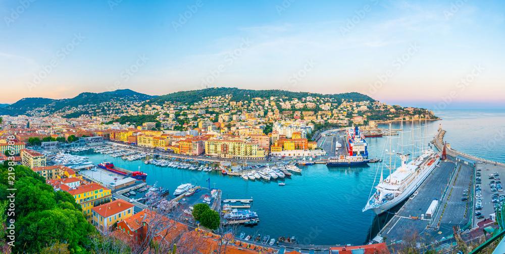 Fototapeta Aerial view of Port of Nice, France