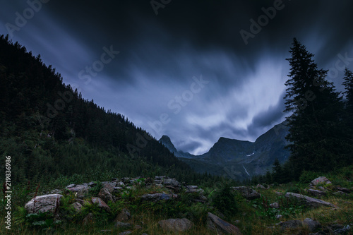 Fotografering  Mysterious and mystical view of the night mountains