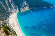 Aerial View Of Myrtos Beach In...