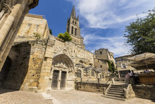 Saint-Emilion, France. Views Of The Monolithic Church (eglise Monolithe) Of Saint-Emilion, Carved From A Limestone Cliff, And Its Bell Tower