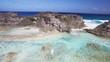 Aerial, rocky coast in Turks and Caicos