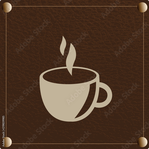 Fotografie, Obraz  Ilustração de café com fundo castanho