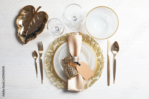 Stampa su Tela Elegant table setting on light background, top view